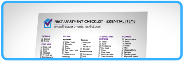 first apartment checklist a printable pdf checklist. Black Bedroom Furniture Sets. Home Design Ideas